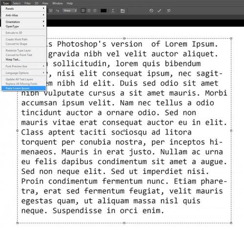 Photoshop CS6 Lorem Ipsum