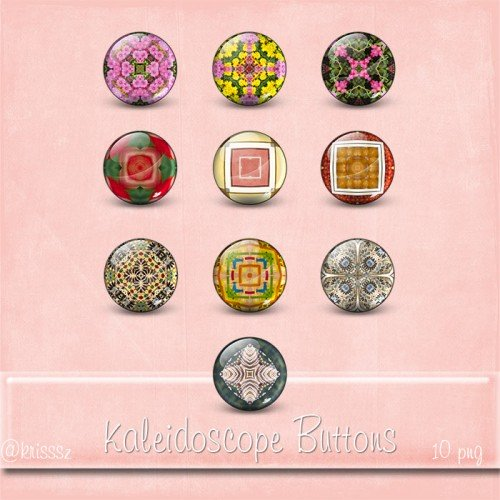 Kaleidoscope Buttons freebie