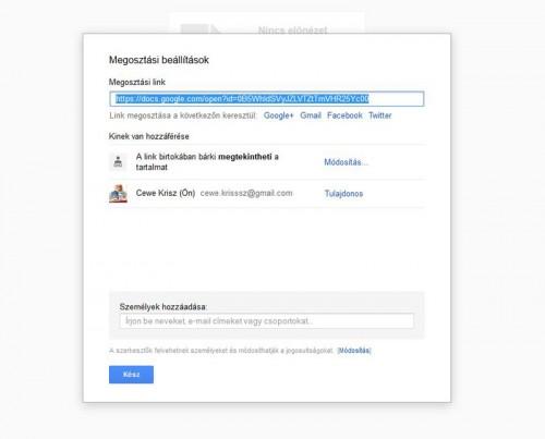 Google Driver megosztás