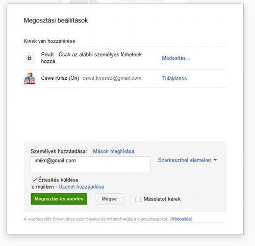 Google Drive megosztás