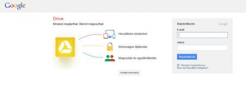 Google Drive bejeletkezés
