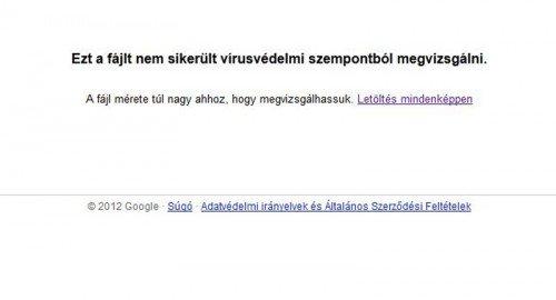 Google Driver figyelmeztetés