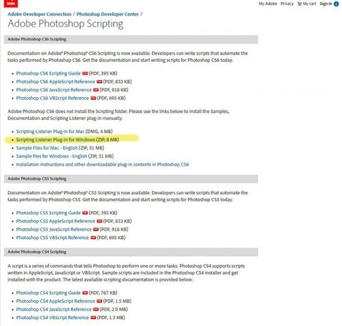 Adobe scripting listener